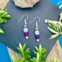 Purple Beaded Earrings with disco bead