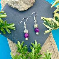 OFFER Purple and Silver beaded Earrings