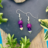 Purple and Heart beaded Earrings