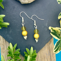 Yellow and Heart beaded Earrings