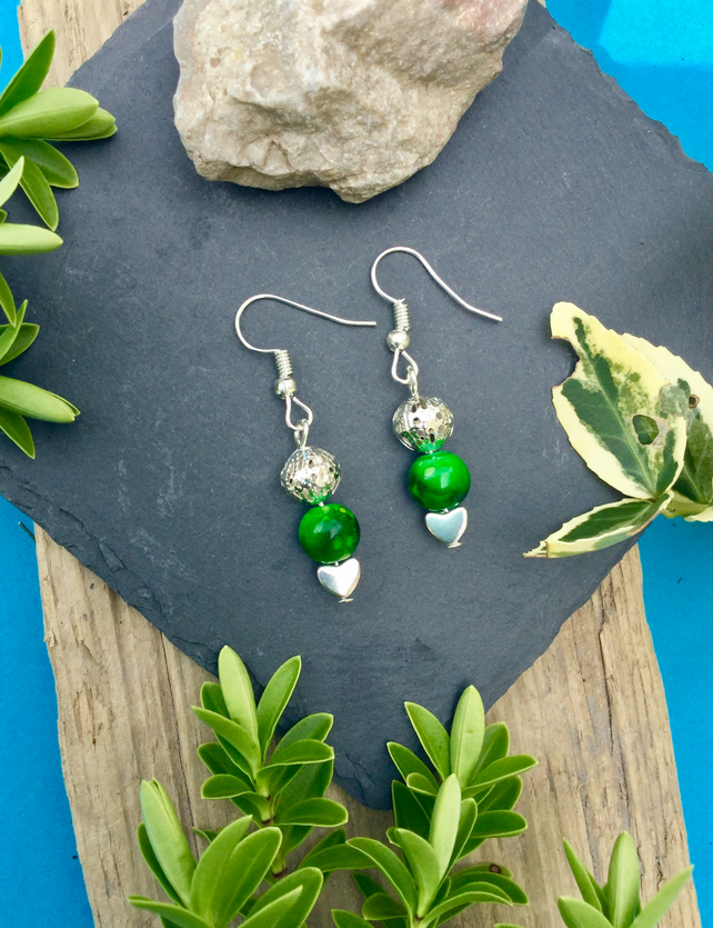 OFFER Green and Silver Heart Earrings