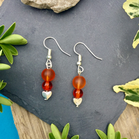 Orange Beaded and Heart earrings