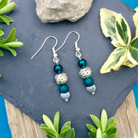 Teal Beaded Earrings
