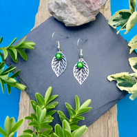 OFFER Leaf Earrings with green Disco bead