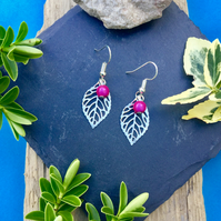 Leaf Earrings with pink disco bead