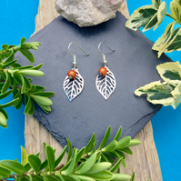 OFFER Leaf Earring with orange disco bead