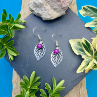 OFFER Leaf earrings with purple disco bead