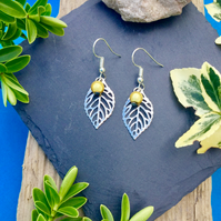 OFFER Leaf earrings with yellow disco bead