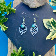 OFFER Leaf earrings with blue Illusion  beads