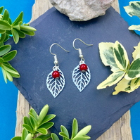 OFFER Leaf earrings with red disco bead