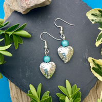 OFFER Heart Earrings with Blue disco bead