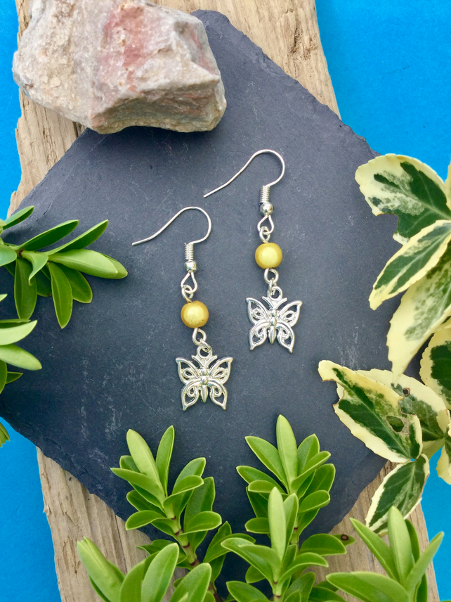 OFFER Butterfly Earrings with Yellow disco beads