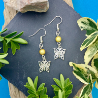 OFFER Butterfly Earrings with Yellow illusion beads