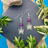 OFFER Butterfly Earrings with Purple disco beads
