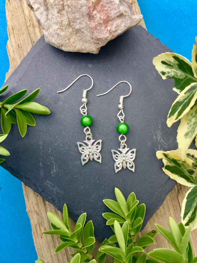 OFFER Butterfly Earrings with Green illusion beads