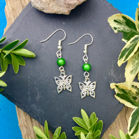 OFFER Butterfly Earrings with Green disco beads