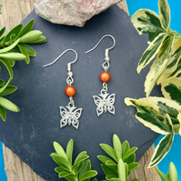 OFFER Butterfly Earrings with Orange Illusion bead