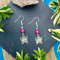 OFFER Butterfly Earrings with Pink disco bead