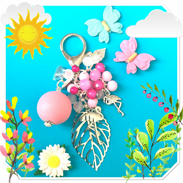 Sale Flamingo Bag Charm Keyring