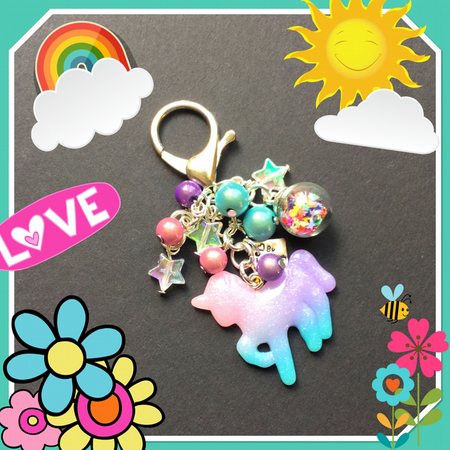 Sale Make a Wish Unicorn Bag Charm - globe of star wishes!