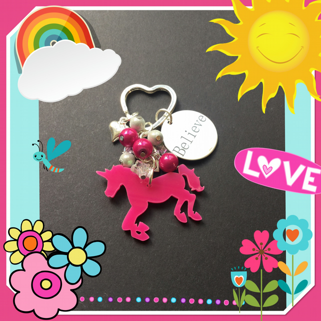 Believe in Univorns Bag Charm Keyring