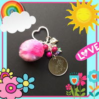 Unicorn Pom Pom Bag Charm Keyring