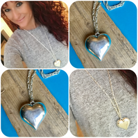 Longer length necklace with Silver colour Heart  - By Lisabellah