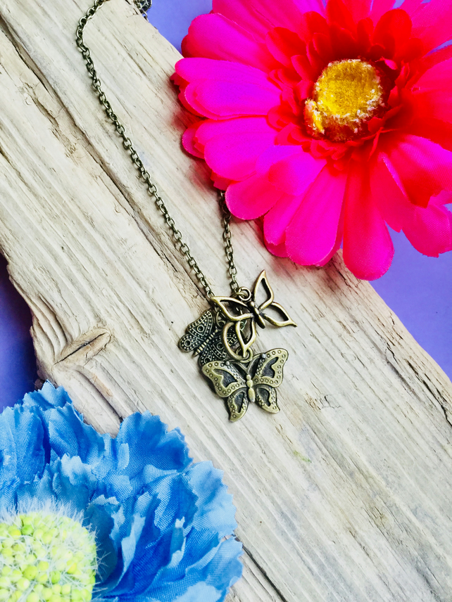 Bronze Butterfly cluster necklace