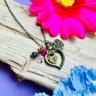 SALE Cluster heart necklace