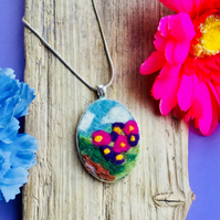 Hand felted pendant necklace