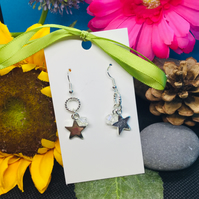 Star and sparkle drop earrings