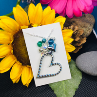 Cluster teal and silver heart necklace with free earrings