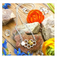 Offer Honeycomb and golden bee necklace