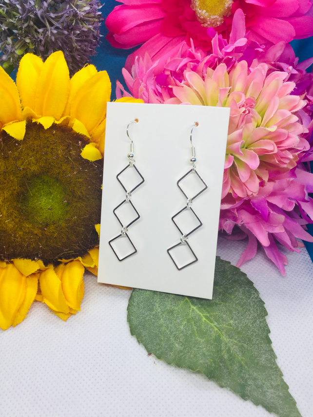 Triple square drop earrings