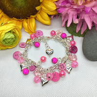 Cute as a button - Pink button and bead bracelet