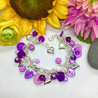 Cute as a button - purples button and bead bracelet