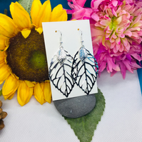 Large leaf drop earrings