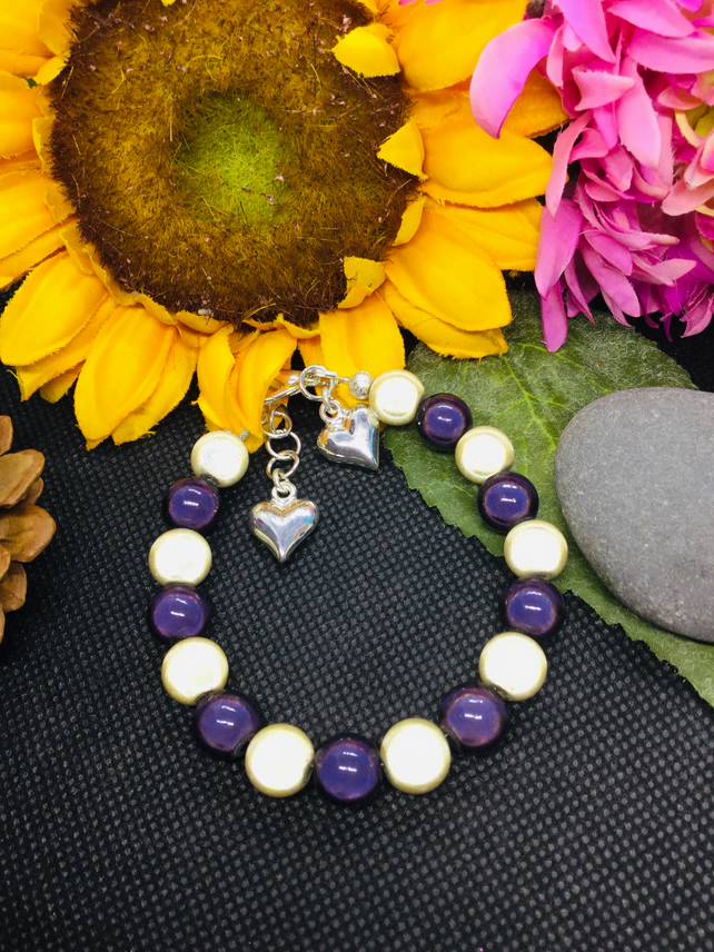 Purple and ivory illusion bead bracelet