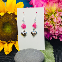 Pink button drop earrings