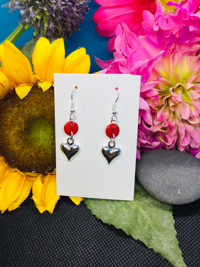 Red button drop earrings