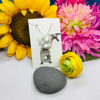 Cluster bird and cage 'Be Free' Necklace - free earrings