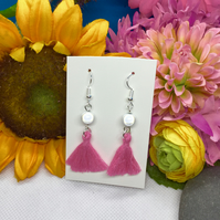 Pink and white Tassel and illusion bead drop earrings