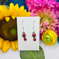 Offer Red and silver drop earrings