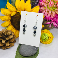 Offer black and silver colour drop earrings
