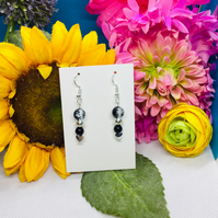 Offer black and silver colour heart and beaded earrings