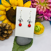 Offer Red and silver colour leaf earrings