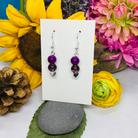 Offer burgundy and silver colour drop earrings
