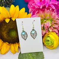 Offer turquoise and silver colour leaf drop earrings