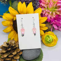 Offer pink and silver colour drop earrings