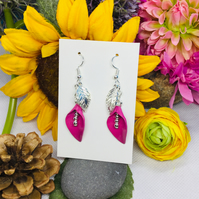 Offer pink flower and silver colour drop earrings